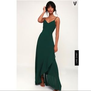 Lulus Ada Forest Green Lace-Up Maxi Dress